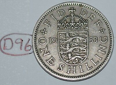 1953 Great Britain Shilling UK Coin KM# 891 Lot #D96