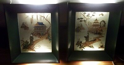 PAIR Vintage Oriental Lighted Shadow Box Reverse Painted Scene Formed Products K