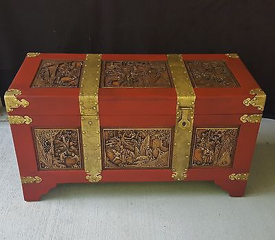 Huge Antique Vtg Brass & Wood Asian Trunk Chest With Hand Carved Figural Panels