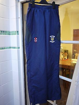 DURHAM CCC Official Tracksuit Blue Trousers Size S with embroidered badge