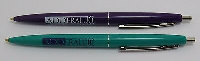 Lot of 2 ADDERALL Drug Rep Pharmaceutical BIC Clicker Pens Purple Teal