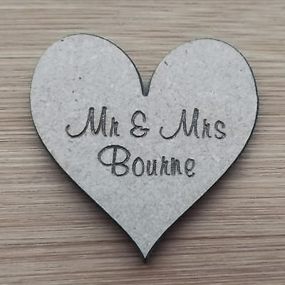 Wooden MDF Personalised Hearts (Muriel Font) - Family Tree/Frame Miniatures