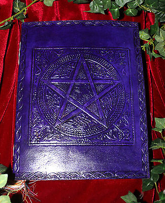Purple Pentacle Large Leather Bound Book Of Shadows ~ Grimoire ~ Hand Made Paper
