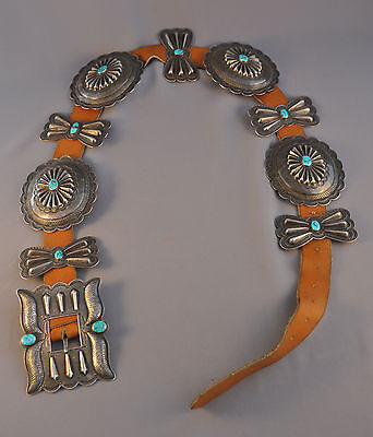 """Large Old Navajo Indian Sterling Silver Concho Belt - Turquoise - 38 1/2"""" Long"""