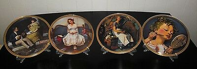 Norman Rockwell, Knowles, Rediscovered Women, 4 Collectors Plates Boxes & Docs