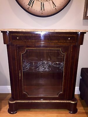 French Inlaid Brass and Beveled Glass Display Cabinet