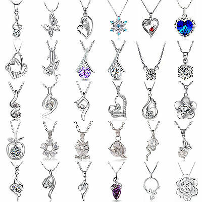 Newest Women Fashion Jewelry 925 Silver Plated Necklace Pendant Clavicle Chain