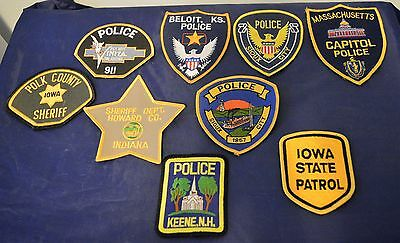 Lot of 9 Different Shoulder Patches Police Sheriff State Patrol Law Enforcement