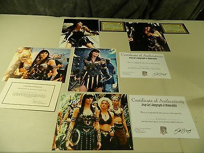 5 Xena Warrior Princess Lucy Lawless Cast Autographed Pictures with COA's