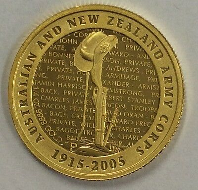 2005 New Zealand Anzac anniversary 1/4 oz gold coin .999 gold .