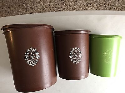 Lot 3 Vintage Brown Green Tupperware Canisters