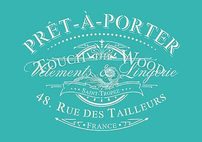 Shabby Chic STENCIL: French Pret-a-Porter Advert (Furniture Print Transfer) #039