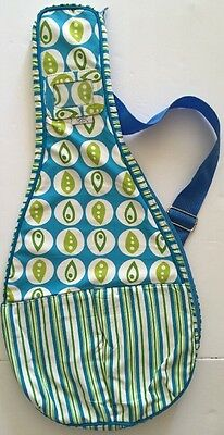 Glove It Abstract Leaves GloveIt Tennis Racquet Cover Sling Bag Green Blue NEW