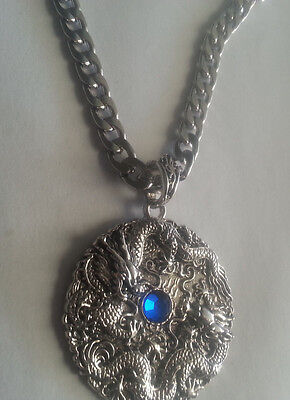 Mens Stainless Steel Chinese Dragon Pendant Necklace tribal blue with chain