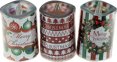 Set Of 3 Christmas Light Up LED Flickering Candle Decorations In Gift Box