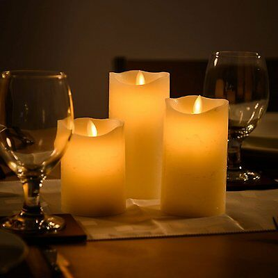 Set of 3 Miracle Flame Flameless Flickering Battery Operated Real Wax Candles