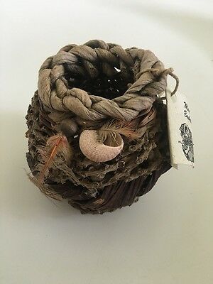 Tiny Handmade Basket with Feathers and Shells