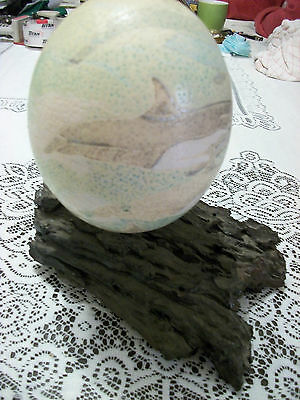 Ostrich Egg Mounted and Hand Painter with Swimming Dolphins Beautifully Done