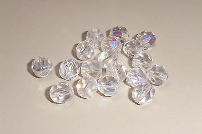 50 Czech Crystal Clear Colour AB Fire Polished Beads 6mm Faceted