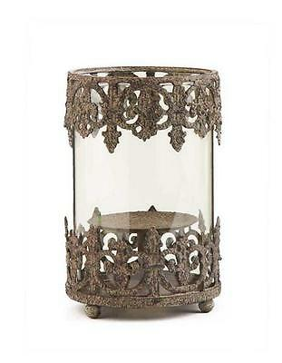 """French Country Filigree Metal & Glass Candle Holder~6.5"""" T"""