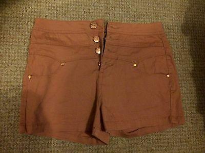 Ladies High Waisted Shorts Salmon Pink Size 12