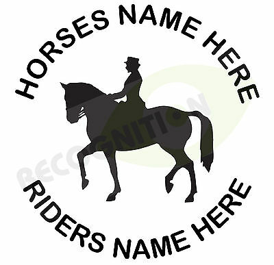 Personalised Horse trailer box decal sticker Horse Dressage design