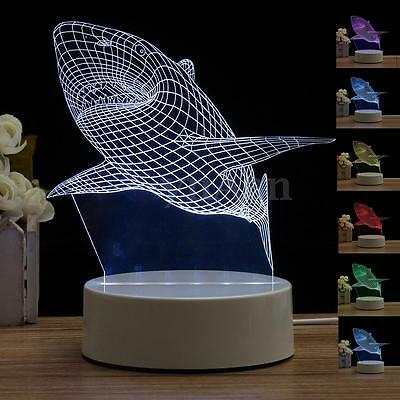 Shark 3D LED Night 7 Color Illusion Touch Table Light Lamp Valentine's Day Gifts