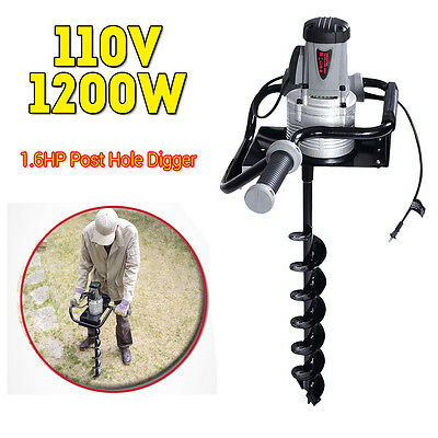 "1200W Electric 110V 1.6HP Post Hole Digger Earth Soil Ice w/ 4"" inch Auger Bit"