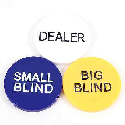 3 Pack - Dealer Button + Small And Big Blinds - New And Sealed