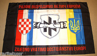Flag Ukrainian Army Croatian Soldiers Volunteers Unit Azov Regiment Battalion