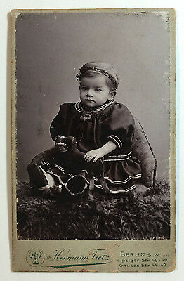 Antique Photo Portrait of Young Child w/ Stuffed Dog Toy, Hermann Tietz, Berlin