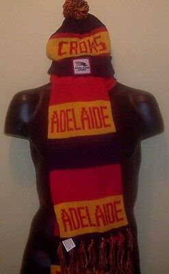 ADELAIDE CROWS Australian Rules Football Bobble Hat & Scarf