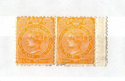 Australia New South Wales 1888 1d Stamp Duty Pair Mint X5036