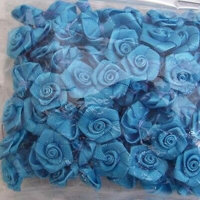 100 (Approx) Turquoise Blue Ribbon Roses 15Mm