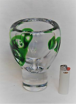 Kosta : Vicke Lindstrand. Large And Heavy Serica Vase In Green And Clear Glass