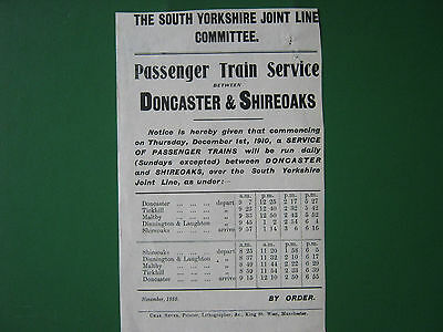 South Yorkshire Joint Line Committee handbill. Doncaster & Shireoaks. 1910.