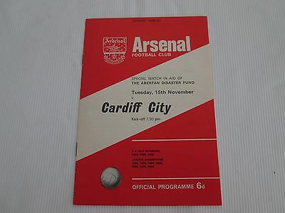 1966-67 SPECIAL MATCH ABERFAN DISASTER FUND ARSENAL v CARDIFF CITY