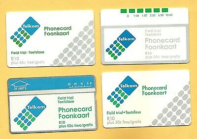 SOUTH AFRICA - 4 ASSORTED TELKOM TRIAL CARDS mint unused