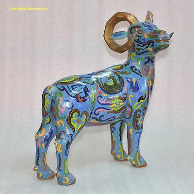 "Great Large 12.5""H Chinese Cloisonne Goat Ram Statue"