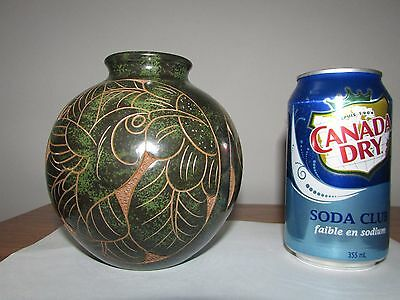 Costa Rica Folk Art Carved Pottery Round Vase Signed