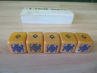 VINTAGE  H P G SERIES  HONEY COLOUREDPOKER DICE in box in VGC , see photos