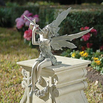 Sitting Fairy Garden Statue Outdoor Ornament Patio Sculpture Decor Resin Stone