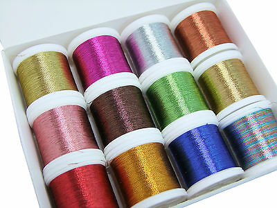 12x Metallic 100m Embroidery Threads Beautiful Colours & Machine Compatible