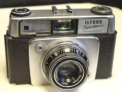 A vintage Ilford Sportsman 35mm film rangefinder with 45mm f2,8 with pouch