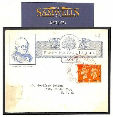 MS2471 1890 GB UPP JUBILEE Card Re-Used 1940 Centenary FDC Gum Stain but Unusual