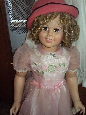 """Shirley Temple Playpal Style Doll-Vinyl-33"""" Life Size-Danbury Mint With Hand Tag"""