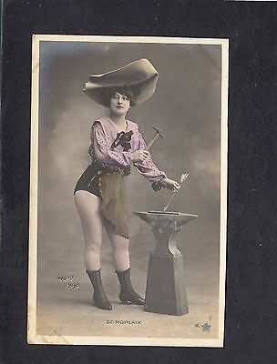 De Morlaix actress with arrow hammer and anvil hand coloured France postcard