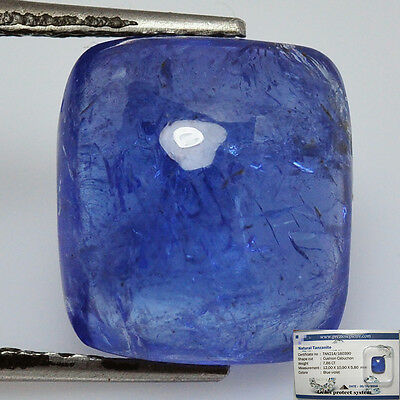 Brillante Tanzanite  Naturale  Ct. 7,86  Cabochon In Blister Gemmologico