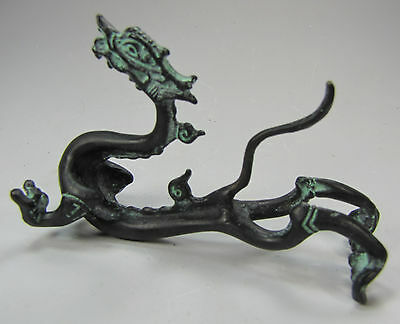 """Chinese Bronze """"Flying Dragon"""" Statue With Fitted Box"""