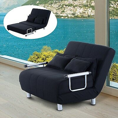 Black Sofa Bed 2 Seater Lounger Adjustable Living Room Couch Fabric Furniture